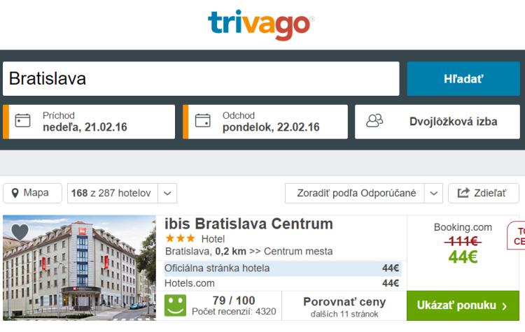 Trivago hotely Bratislava