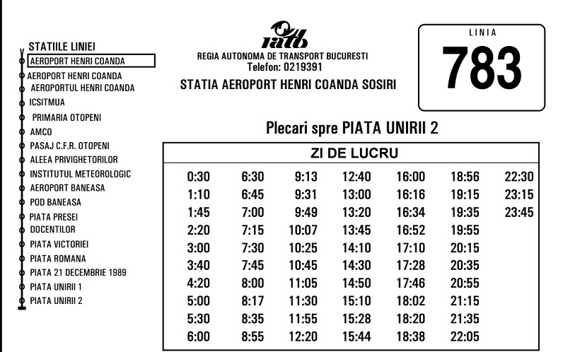 bus 783 bucharest timetable