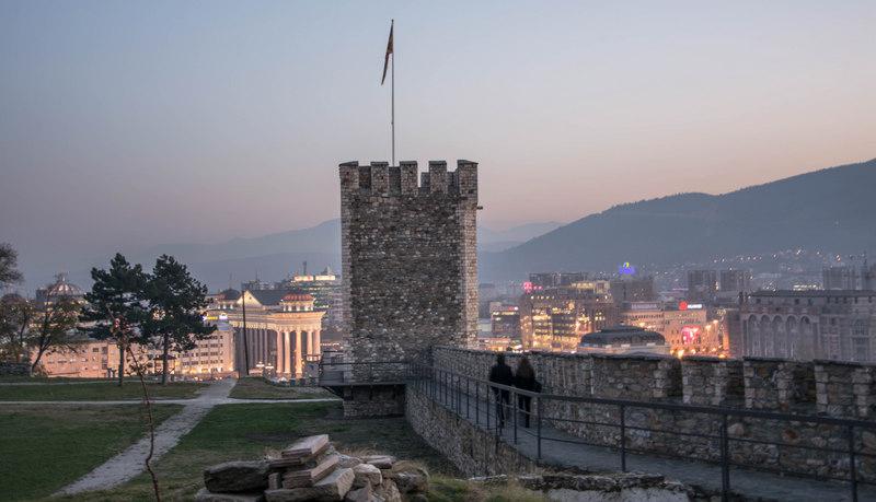 Západ slnka z pevnosti Kale v Skopje