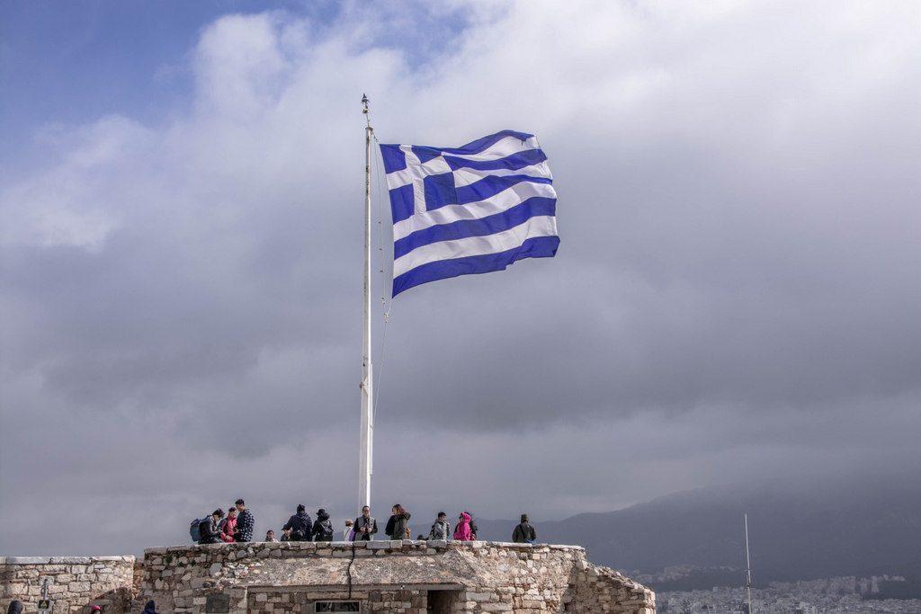 vlajka na akropole v aténach